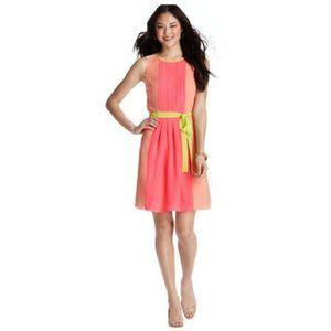 Ann Taylor Loft Neon Colorblock Pleated Dress 6